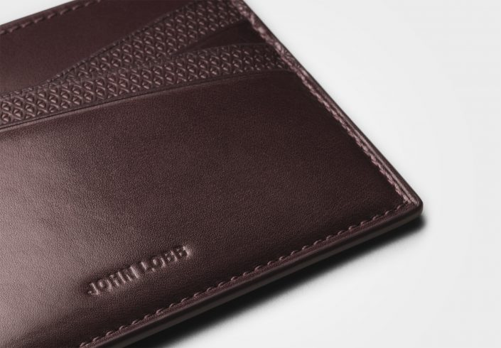 JOHN LOBB – Card Holder in Burgundy Calf detail