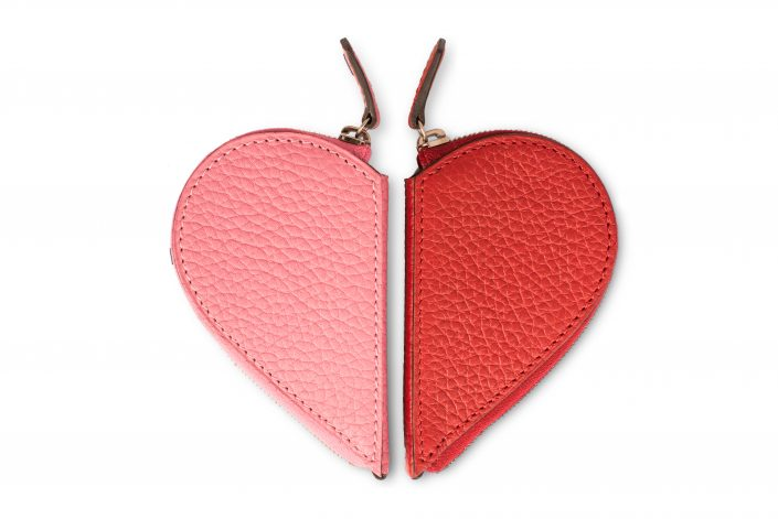 MOYNAT- Half heart coin purse pink and garance red