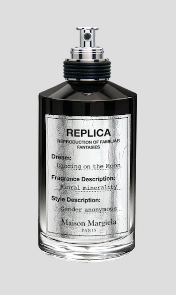 MAISON MARGIELA – 'Replica' Eau de Parfum series Dancing on the Moon: Bathed in bright spotlight, an anonymous dancer in full arabesque pose sways across the lunar surface in a white gown as planet Earth appears distant in space