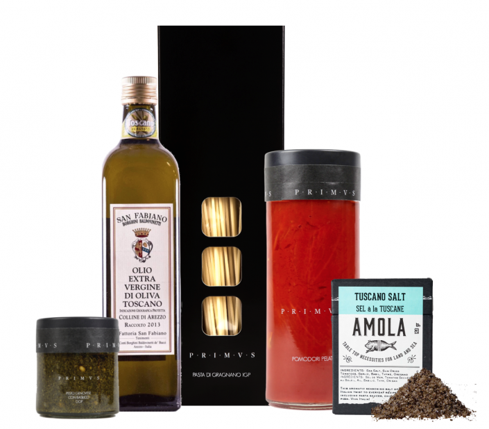 CRAFTED 852Surprise a loved one witha home cooked meal, straightfrom the hills of Tuscany. Tuscany in a Box gift set makes creating the perfect meal a breeze. The curated pack includes durham wheat semolina pasta from Gragnano, a jar of premium quality pesto, jarred Pomodoro tomatoes from San Marzano from PRIMVS and world class extra virgin olive oil by San Fabiano. Season the culinary creation with sea salt scented with Tuscanherbs by Amola and Bon appetito!